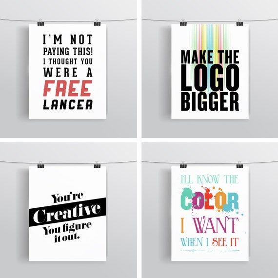 Client Quotes Set - Graphic Designer Gift - Typographic Prints - Art Prints and Posters