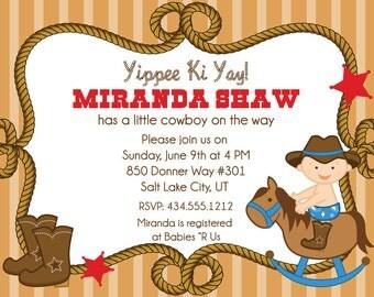 Cowboy Baby Shower Invitations Western Boy Baby Shower Invite