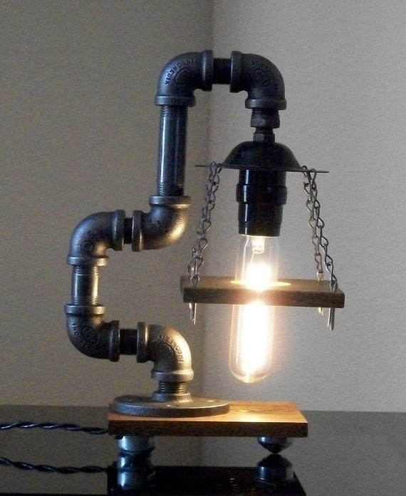 industrial art black pipe table desk lamp with by store19. Black Bedroom Furniture Sets. Home Design Ideas
