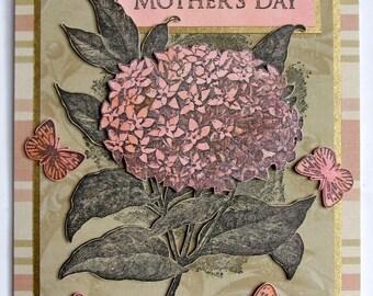 Handmade Mother's Day Card - Vintage Hydrangea flower, Butterflies.