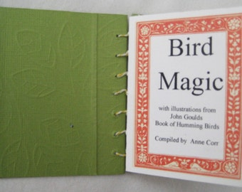 Bird Magic , Book Art,  Artist book, Hand made book, coptic stitched book, Birds, quotation, stocking stuffer