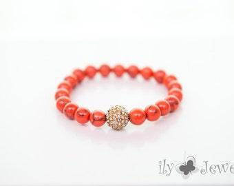 Coral Pave Ball Bracelet