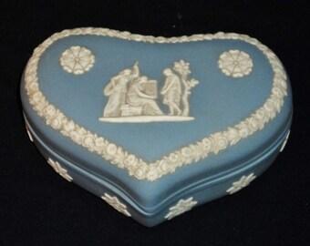 Vintage Light Blue Wedgwood Heart Shaped Trinket Box - Made in England