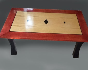 Coffee Table - Ash, Cherry Red Curly Maple,with Gabon Ebony Inlay
