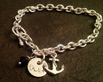 Personalized Navy wife bracelet with anchor and gemstone