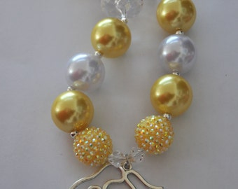 Belle Inspired Necklace/Yellow Chunky Beaded Necklace