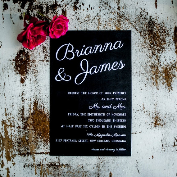 Chalkboard Wedding Invitation, Wedding Invitations  - The Brianna - rustic wedding invitation, chalkboard, wedding invites black tie wedding