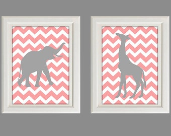 "Nursery Art - Baby Girl Nursery - Chevron Nursery Decor - You Are My Sunshine - Set Of Two 8X10"" Prints"