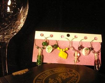 glass wine theme wine charms