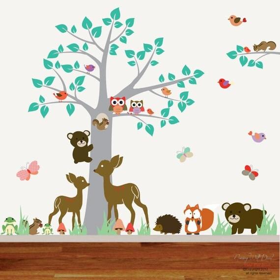 items similar to nursery vinyl wall decal sticker forest woodland animal deer fox armadillo. Black Bedroom Furniture Sets. Home Design Ideas