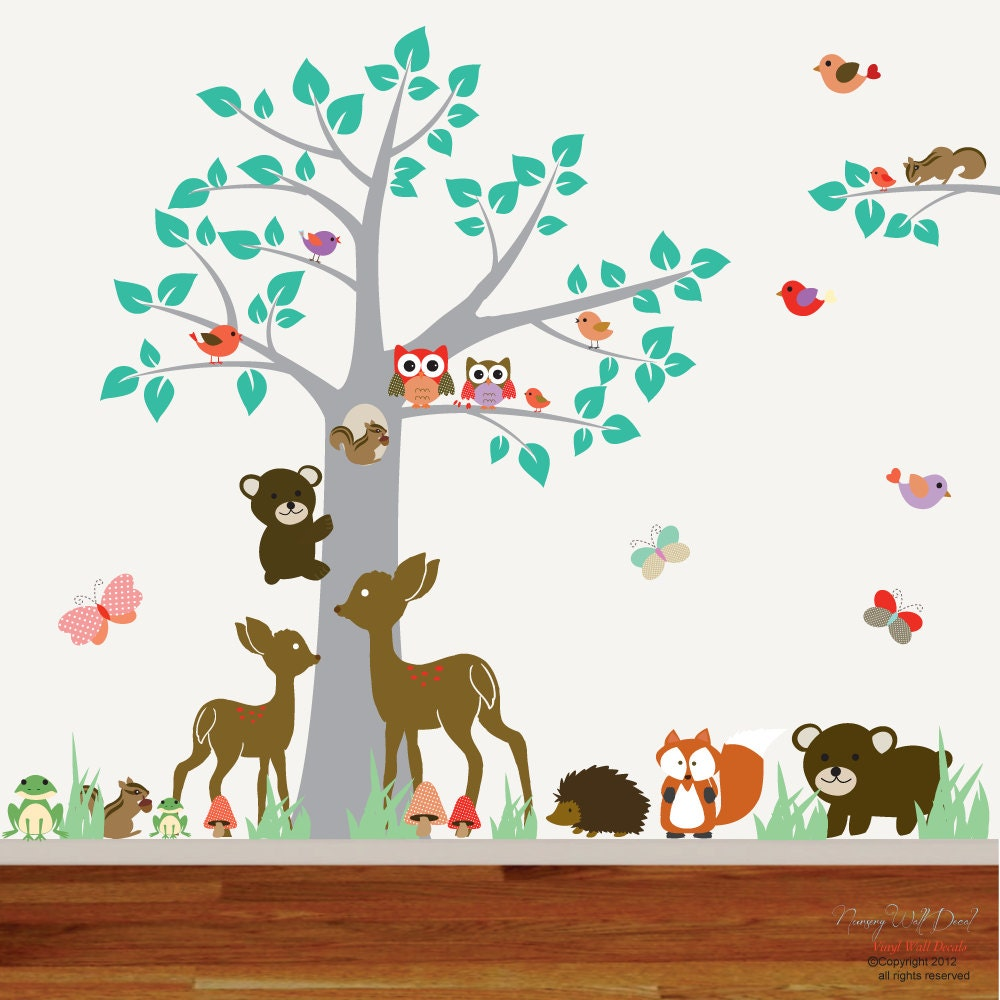 nursery vinyl wall decal sticker forest by nurserywalldecal. Black Bedroom Furniture Sets. Home Design Ideas