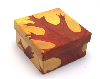 Oak Leaf box,  painted with acrylic paint, 2 3/4 inches x 1 1/2 inches