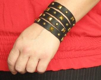 Fashion Rocker Medieval Leather Cuff  Bracer