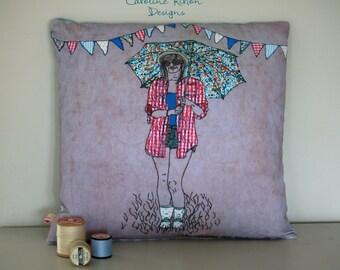O.M.G. where's the tent. Digitally printed handmade cushion.  Original design suitable for home decor.