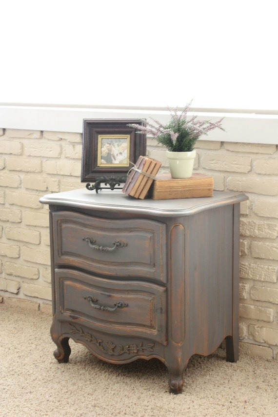shabby chic charcoal grey nightstand by herd2herd on etsy. Black Bedroom Furniture Sets. Home Design Ideas