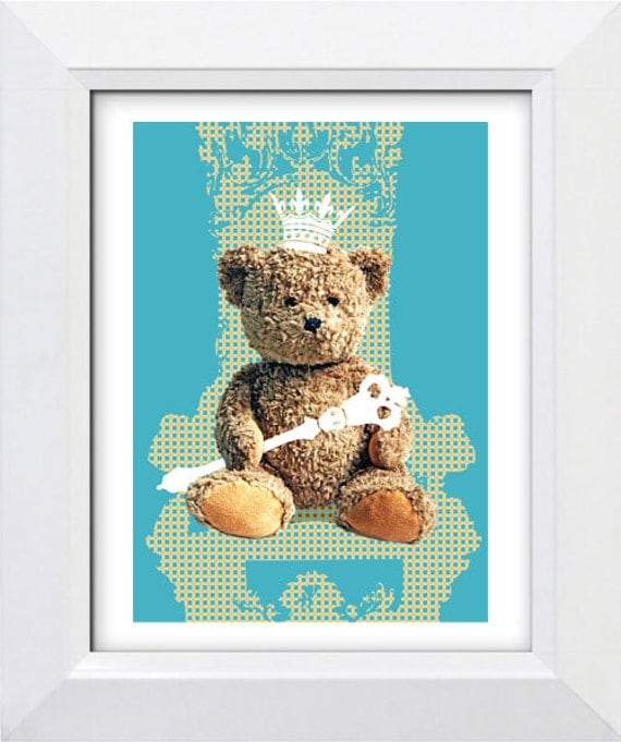 Nursery art print-Teddy Bear as a king on the throne blue, A4, wall art for children, kids room decor, illustration