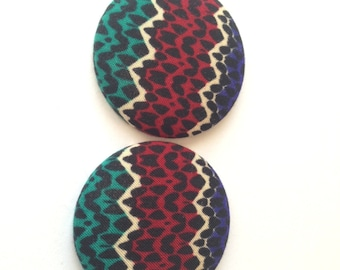 Ethnic Print Fabric Covered Button Earring