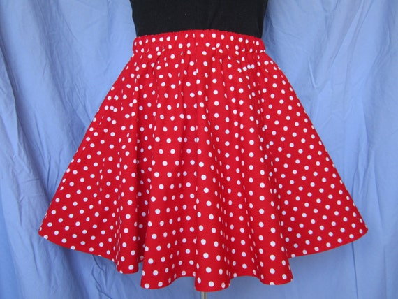 Red and white polka dot skirt for adults – Modern skirts blog for you