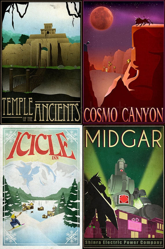 Final Fantasy 7 Inspired Travel Poster Magnets