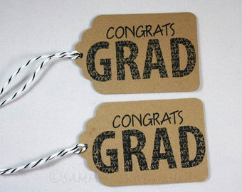 Congrats Grad Tags, Set of 10 Hand Stamped Graduation Tags, Design Your Own Party Favor Tags, Graduation Party, School Colors, Grad Gift