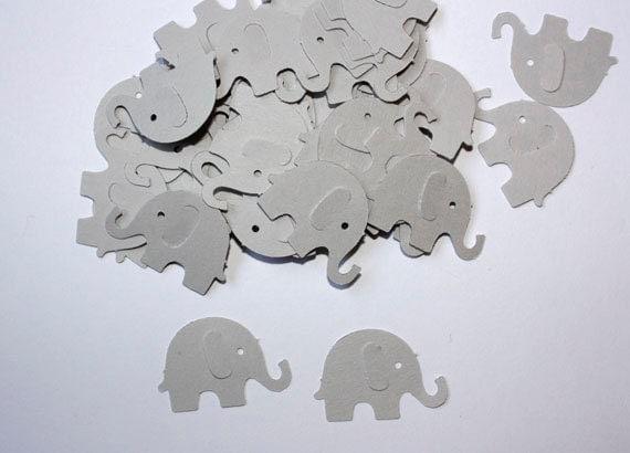 50 Grey Elephant Confetti Die Cut Elephants Birthday Party