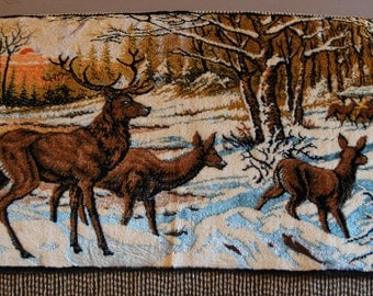 Vintage deer with sunset ornamental tapestry, soft and luscious yet rustic and woodsy