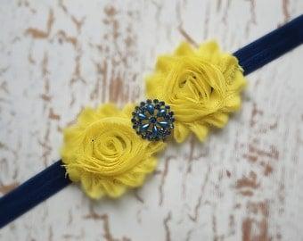 Blue Yellow Baby headband, vintage headband, shabby chic roses headband, headband
