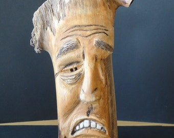 Driftwood Carving Wood Spirit  Sculpture, It hurts So Bad