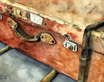 old luggage watercolor painting    paper fabriano artistico 300 grs 30x40 cm