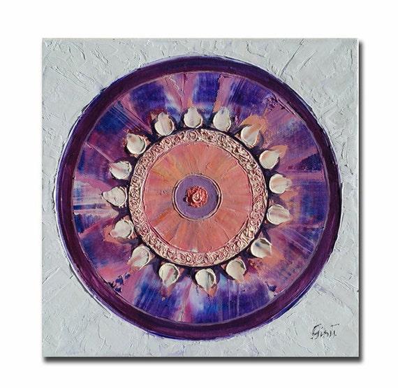ORIGINAL mandala painting, spiritual art, meditation art, mandala art, violet, white