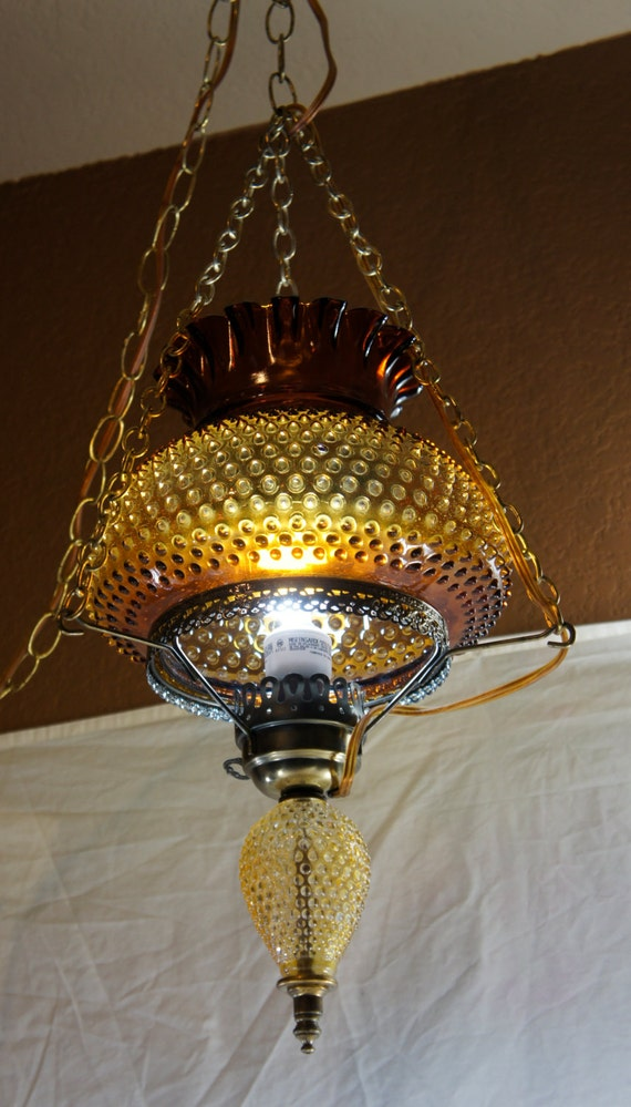Vintage Amber Hobnail Hurricane Hanging Light Lamp Swag By