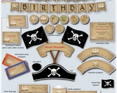 Print Your Fiesta editable digital party set - Pirate Treasure Party Kit - pirate hat, card, wrappers, favor tags, toppers, Free shipping
