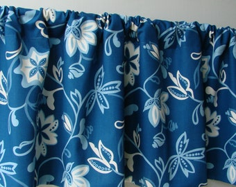 52x16 Valance. Blue and White valance. Fully lined valance.