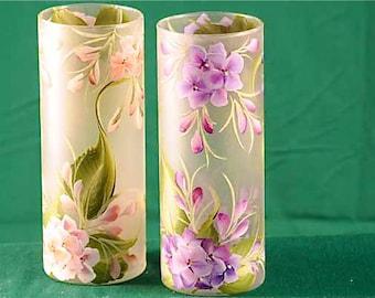 Hand Painted Hydrangea Cylinder Vase