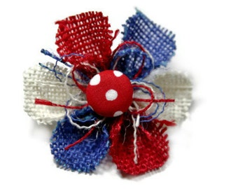 July 4th Flower Pin, Womens Flower Brooch Pin, Red White and Blue Brooch Pin