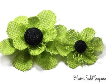 Lime Green Flower Accessory - Available in a Brooch Pin, Snap Clip, Alligator Clip or Headband