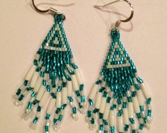 Green and white Native American earrings
