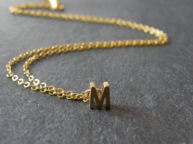 Initial letter m necklace matt gold personalized necklace for Custom letter necklace gold