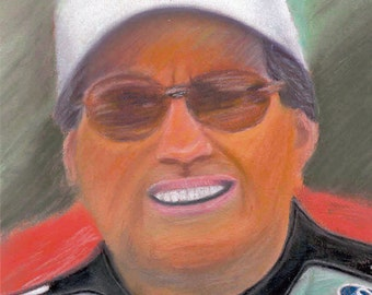 John Force NHRA Drag Racer and Funny Car Champion Reproduction Pastel 8x10