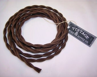 Brown Cotton Cloth Covered Wire - 7-ft  - Antique Style Lamp Cord - Industrial Light  - Fan Wire - Edison Light - Table Light