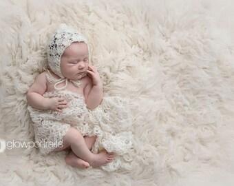 Newborn Props//Lacy Cream Crochet Pixie Bonnet & Wrap Set//Newborn Photo Prop//Newborn Girl Hat//Newborn Crochet Hat//Crochet Wrap