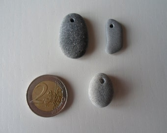 3 natural top drilled beach stones