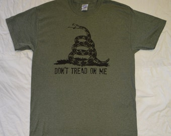 T-Shirt: Heather Military Green Don't Tread on Me Tee with Snake - S - 3XL