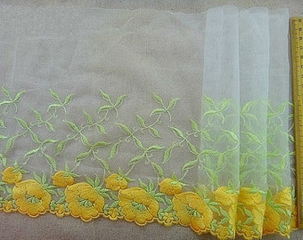 White Tulle Lace Trim Yellow Flowers Embroidered Lace Trim 8.26 Inches Wide 1.36 Yards Costume Supplies