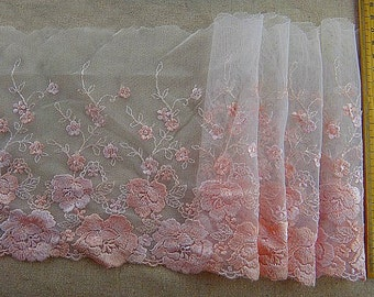 White Tulle Lace Trim Pink Roses Embroidered Lace Trim 6.69 Inches Wide 2 Yards Costume Supplies