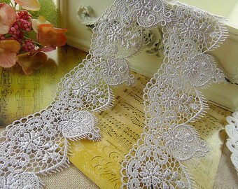 Grey Venice Lace Retro Hollowed Out Lace Trim 2.1 Inches Wide 2 Yards Costume Headware Supplies