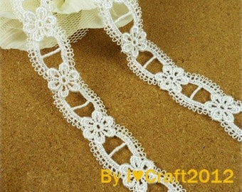 White Venice Lace Lovely Exquisite Floral Lace Trim 0.78 Inches Wide 3 Yards Costume Headware Supplies