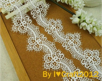 Off White Venice Lace Chic Retro Eyelash Lace Trim 2.28 Inches Wide 2.55 Yards Costume Headware Supplies
