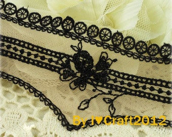 Khaki Tulle Strechy Lace Trim Black Floral Emboridered Lace Trim 1.96 Inches Wide 2.96 Yards Lingerie Supplies Costume Headware Supplies
