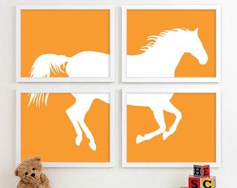 Horse Nursery Art Print, Orange Boys Nursery Decor, Cowboy Pony Children Kid Girl Boy Room, Cowgirl Equestrian Wall Art Home Decor